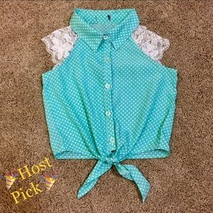 Other - Girls Teal Polka Dot Button-down Tank w/ Lace